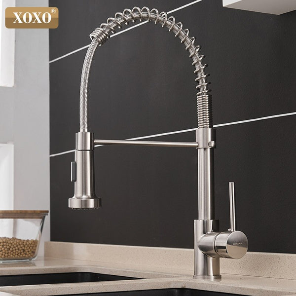 1343A-S - XOXO Kitchen Faucet Pull Out Cold and Hot Brushed Nickel Torneira  Rotate Swivel 2-Function Water Outlet Mixer Tap 1343A-S