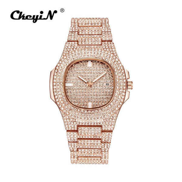 Rose Gold - Men Watch Sliver Rose Gold Mens Watches Top Brand Luxury Diamond Stainless Steel Quartz Wristwatch Dress Business Date Clock 45