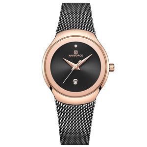 Gold Black - NAVIFORCE Watch Women Fashion Dress Quartz Watches Lady Stainless Steel Waterproof Wristwatch Simple Girl Clock Relogio Feminino