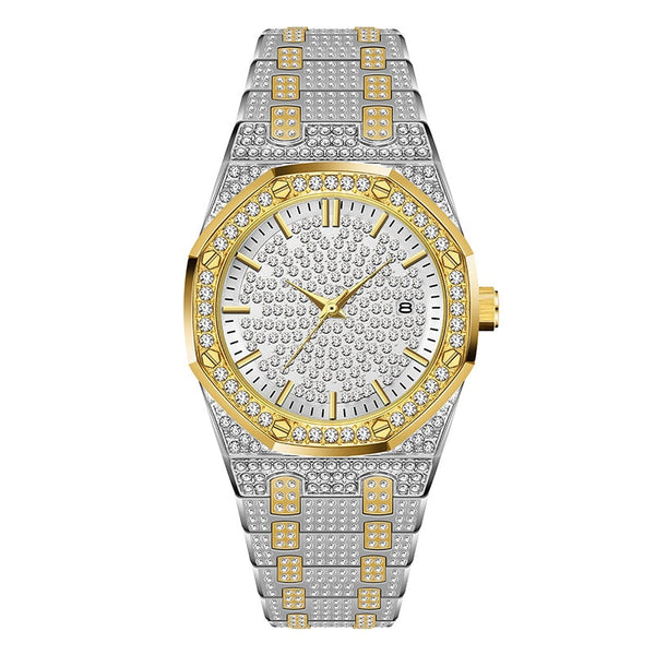 V294-Gold and Silver - 18K Gold Watch Men Luxury Brand Diamond Mens Watches Top Brand Luxury FF Iced Out Male Quartz Watch Calender Unique Gift For Men