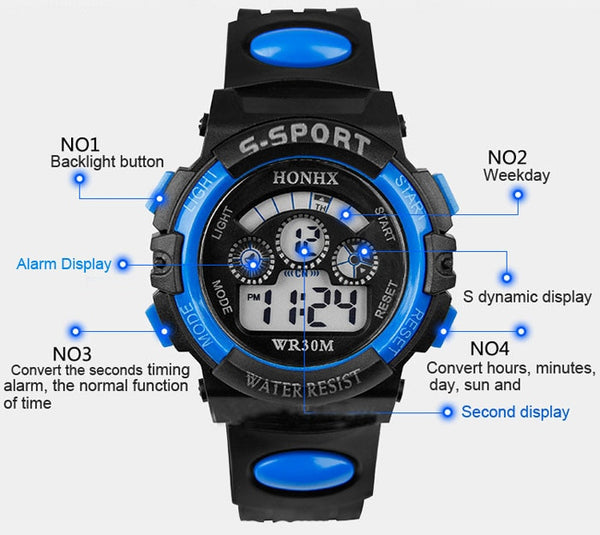 bu - 2017 Waterproof Children Boy Digital LED Quartz Alarm Date Sports Wrist Watch dropshipping