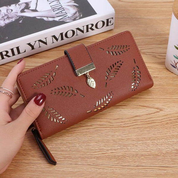 Coffee - Women Wallet PU Leather Purse Female Long Wallet Gold Hollow Leaves Pouch Handbag For Women Coin Purse Card Holders Clutch