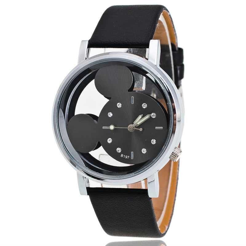 Black Black - Brand Leather Quartz Watch Women Children Girl Boy Kids Fashion Bracelet Wrist Watch Wristwatches Clock Relogio Feminino Cartoon
