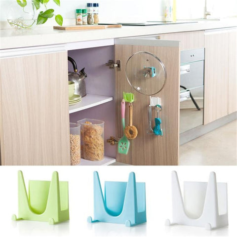 [variant_title] - Wall Housekeeper Plastic Kitchen Pot Pan Cover Shell Cover Sucker Tool Bracket Storage Organizer Rack Hanger Storage Rack Holder