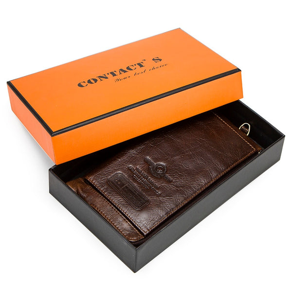 Coffee Box - 2019 Men Wallet Clutch Genuine Leather Brand Rfid  Wallet Male Organizer Cell Phone Clutch Bag Long Coin Purse Free Engrave