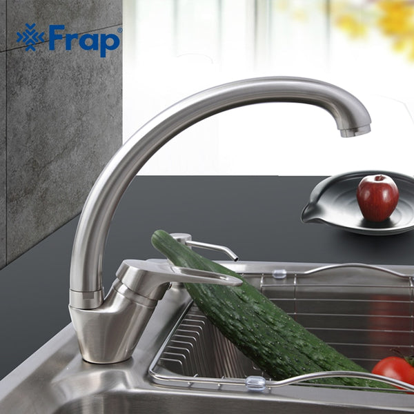 F41135Nickel - FRAP  Brass 5 color Kitchen sink faucet Mixer Cold And Hot Single Handle Swivel Spout Kitchen Water Sink Mixer Tap Faucets F4113