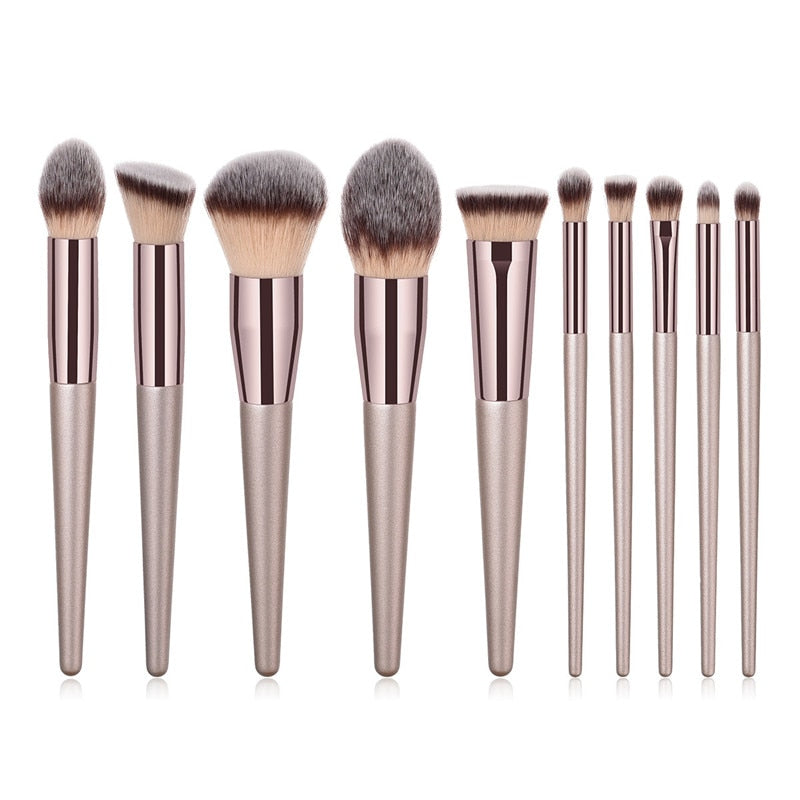 10pcs XB kabuki set - 10pcs/set Champagne makeup brushes set for cosmetic foundation powder blush eyeshadow kabuki blending make up brush beauty tool