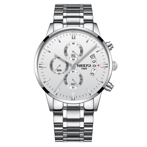 Silver White Steel - NIBOSI Relogio Masculino Men Watches Luxury Famous Top Brand Men's Fashion Casual Dress Watch Military Quartz Wristwatches Saat