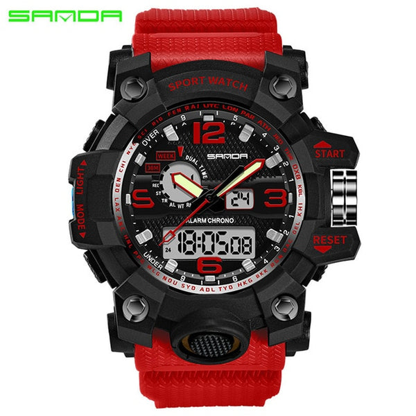 red - SANDA top luxury brand G style men's military sports watch LED digital watch waterproof men's watch Relogio Masculino
