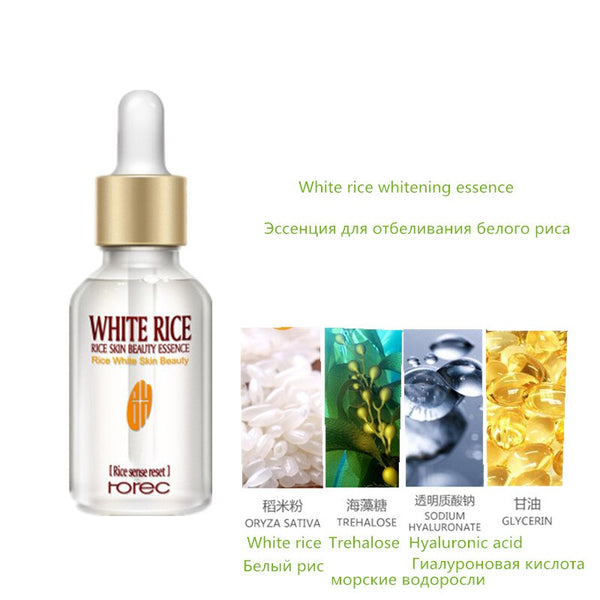 White rice - Face Essence Snail Hyaluronic Acid Green Tea Skin Care Moisturizing Whitening Anti-Aging Advanced Face Serum Cosmetic 15ml