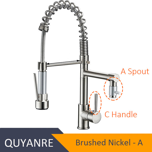 NICKEL XINCHUSHUI - Blackend Spring Kitchen Faucet Pull out Side Sprayer Dual Spout Single Handle Mixer Tap Sink Faucet 360 Rotation Kitchen Faucets