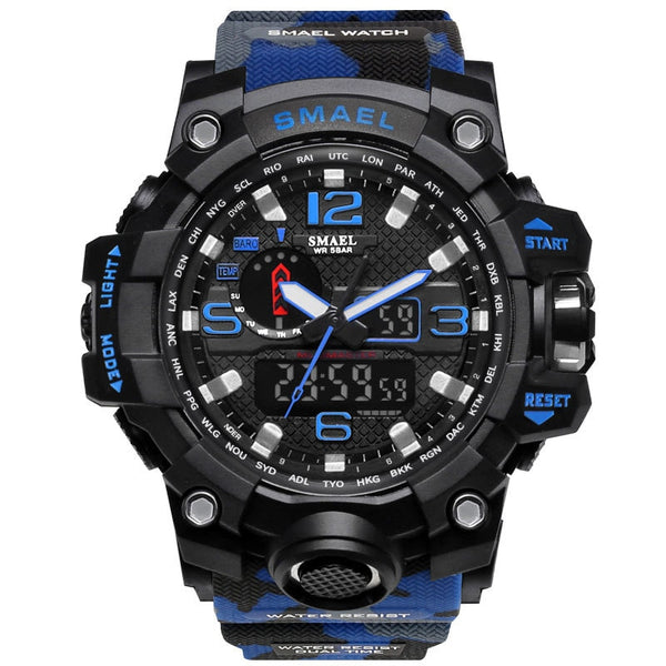 1545B Blue - SMAEL Brand Men Sports Watches Dual Display Analog Digital LED Electronic Quartz Wristwatches Waterproof Swimming Military Watch