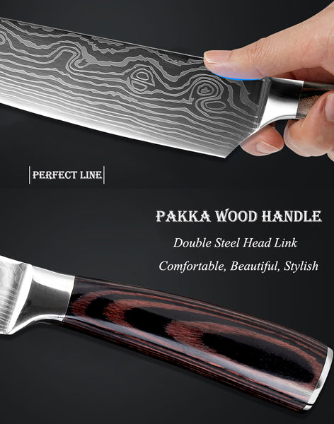 "[variant_title] - High quality 8""inch Utility Chef Knives Imitation Damascus steel Santoku kitchen Knives Sharp Cleaver Slicing Knives Gift Knife"