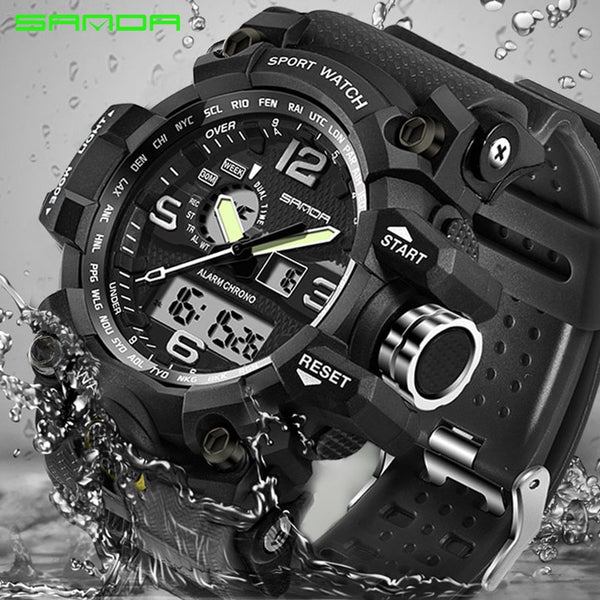 [variant_title] - SANDA top luxury brand G style men's military sports watch LED digital watch waterproof men's watch Relogio Masculino