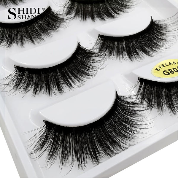 g801 - SHIDISHANGPIN 5 pairs mink eyelashes natural long 3d mink lashes hand made false eyelashes dramatic eyelashes makeup fake lashes