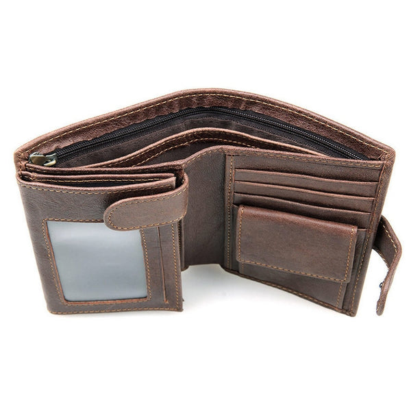 [variant_title] - Vintage Men's Short Wallet Men Genuine Leather Clutch Wallets Purses First Layer Real Leather Multi-Card Bit Retro Card Holder