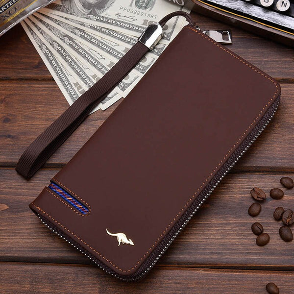 Coffee B - New Men Leather Wallet High Quality Zipper Wallets Men Long Purse Male Clutch Phone Bag Wristlet Coin Purse Card Holder MWS184