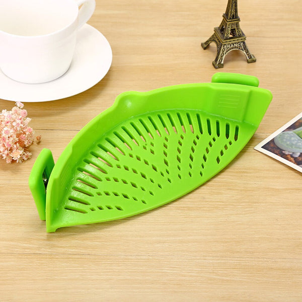 Green / 1-tier - Silicone Colanders Kitchen Clip On Pot Strainer Drainer For Draining Liquid Univers Draining Pasta Vegetable Tool DropShipping