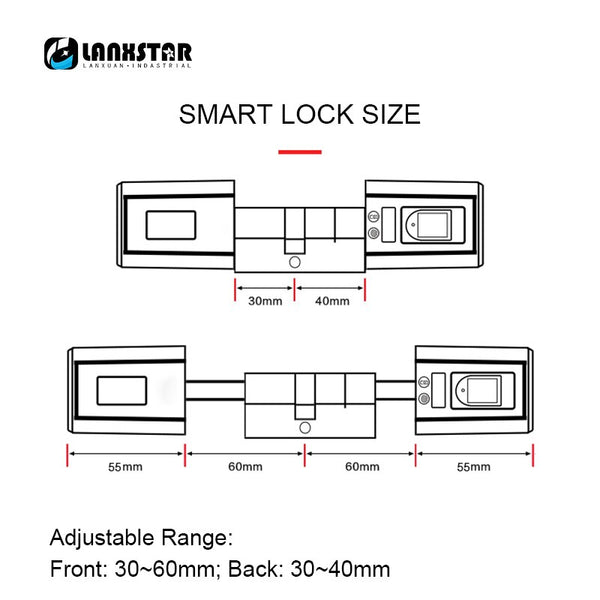 [variant_title] - Lanxstar Durable Smart Lockcore Mechanical Lock Transformation Replacement Intelligent Cylinder Password Bluetooth RFID Card APP