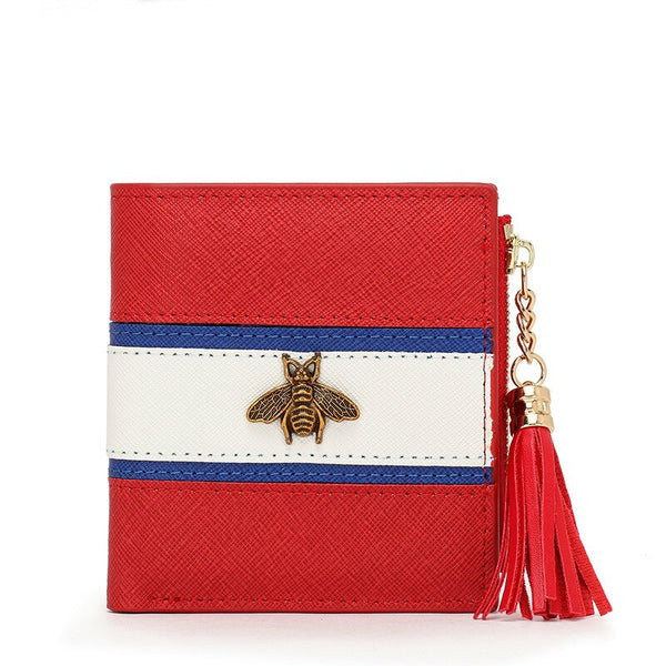 red - Hot Sale Genuine Leather Women Wallets Women Purses Hasp Wallet Female Small Coin Purse Leather Zipper Carteira Feminina