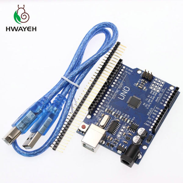 UNO R3 With Cable - HWAYEH high quality One set UNO R3 CH340G+MEGA328P Chip 16Mhz For Arduino UNO R3 Development board + USB CABLE