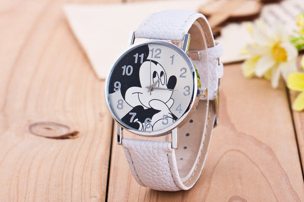 white - New Women Watch Mickey Mouse Pattern Fashion Quartz Watches Casual Cartoon Leather Clock Girls Kids Wristwatch Relogio Feminino