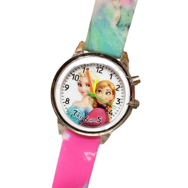 Flash Rose - Princess Elsa Children Watches Electronic Colorful Light Source Child Watch Girls Birthday Party Kids Gift Clock Childrens Wrist
