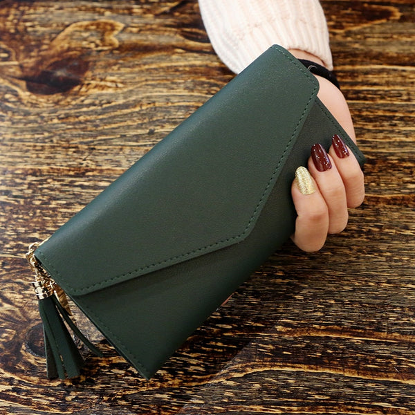 DarkGreen - Long Wallet Women Purses Tassel Fashion Coin Purse Card Holder Wallets Female High Quality Clutch Money Bag PU Leather Wallet