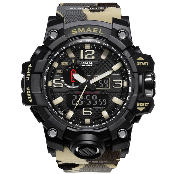 1545B Khaki - SMAEL Brand Men Sports Watches Dual Display Analog Digital LED Electronic Quartz Wristwatches Waterproof Swimming Military Watch