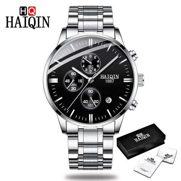 Silver-black - HAIQIN Men's watches Fashion Mens watches top brand luxury/Sport/military/Gold/quartz/wrist watch men clock relogio masculino
