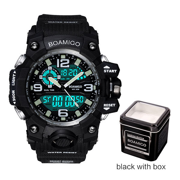 black with box - Men Sports Watches BOAMIGO Brand Digital LED Orange Shock Swim Quartz Rubber Wristwatches Waterproof Clock Relogio Masculino