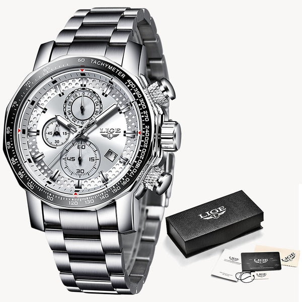 Silver white - Relogio Masculino LIGE New Sport Chronograph Mens Watches Top Brand Luxury Full Steel Quartz Clock Waterproof Big Dial Watch Men