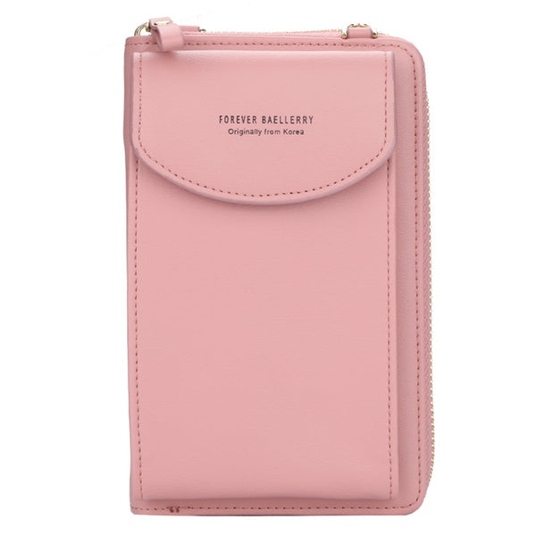 Dark pink - Fashion Women Crossbody Wallet PU Leather Lady Clutch Bag Multifunction Zipper Coin Purse Solid Color Shoulder Bags Clutch Bag