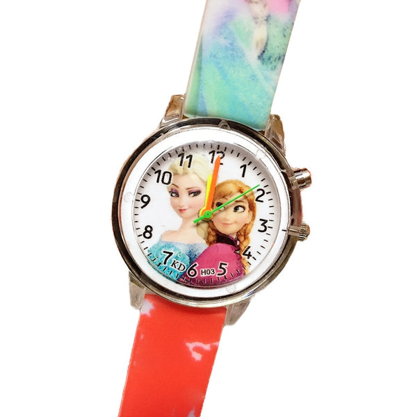 Flash Red - Princess Elsa Children Watches Electronic Colorful Light Source Child Watch Girls Birthday Party Kids Gift Clock Childrens Wrist