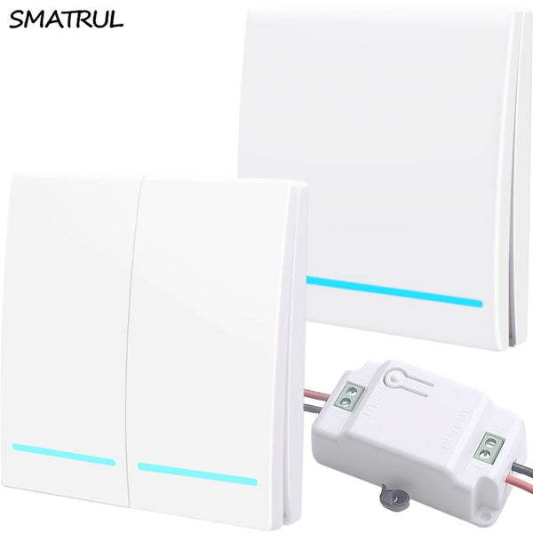 [variant_title] - SMATRUL 433Mhz Wireless smart Light Switch RF Remote Control 1000W 50M AC 110V 220V Receiver Wall Panel push button Bedroom Lamp