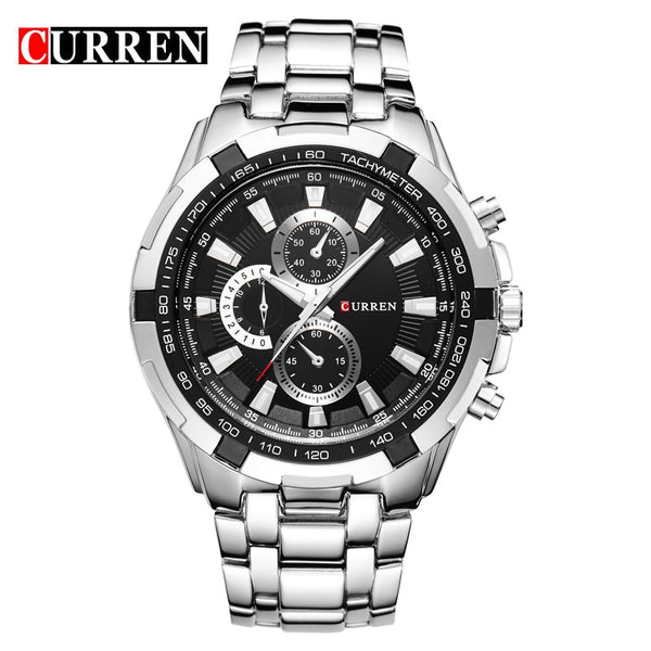 silver black - HOT2016 CURREN Watches Men quartz TopBrand  Analog  Military male Watches Men Sports army Watch Waterproof Relogio Masculino8023