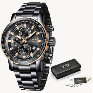 Black rose gold - Relogio Masculino LIGE New Sport Chronograph Mens Watches Top Brand Luxury Full Steel Quartz Clock Waterproof Big Dial Watch Men
