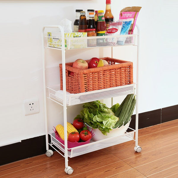 [variant_title] - Multi-functional storage rack with pulleys, kitchen carts, storage spice racks