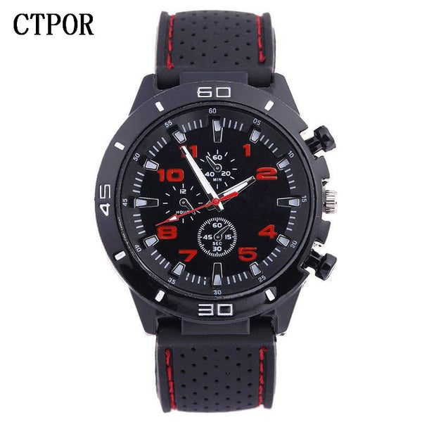 red - 9-18 years Old Sports Children's Watch Military Sports Car Style Man Watches Silicone Wristwatch Child Student Clock Kids Boy WA