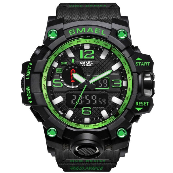 1545 Black Green - SMAEL Brand Men Sports Watches Dual Display Analog Digital LED Electronic Quartz Wristwatches Waterproof Swimming Military Watch