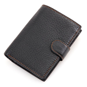 Black A - Vintage Men's Short Wallet Men Genuine Leather Clutch Wallets Purses First Layer Real Leather Multi-Card Bit Retro Card Holder