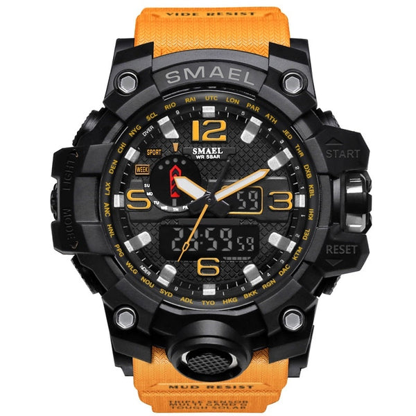 1545 Orange - SMAEL Brand Men Sports Watches Dual Display Analog Digital LED Electronic Quartz Wristwatches Waterproof Swimming Military Watch