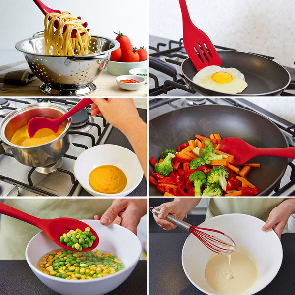 [variant_title] - 10pcs kitchen tools cooking tools accessories silicone non-stickware cutlery set kitchen cooking spoon pot shovel egg blender