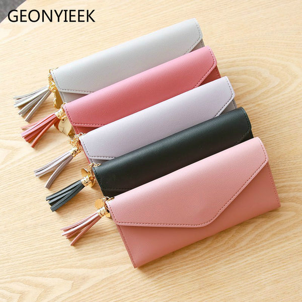 [variant_title] - Long Wallet Women Purses Tassel Fashion Coin Purse Card Holder Wallets Female High Quality Clutch Money Bag PU Leather Wallet