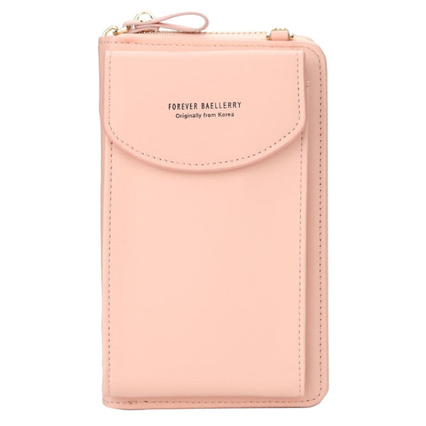 Light pink - Fashion Women Crossbody Wallet PU Leather Lady Clutch Bag Multifunction Zipper Coin Purse Solid Color Shoulder Bags Clutch Bag