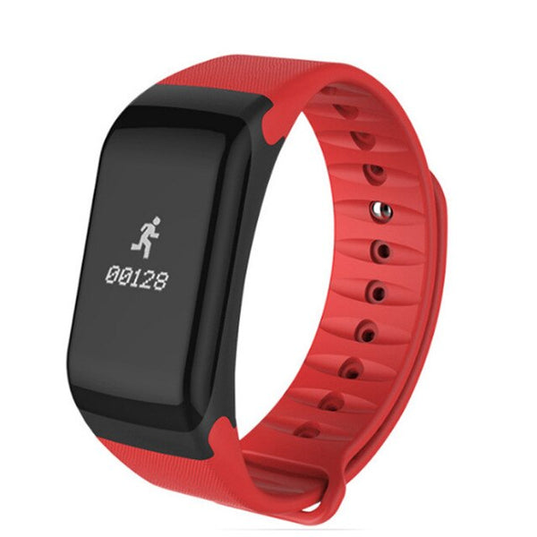 Red - Smart Watch F1 Blood Oxygen Blood Pressure Band Fitness Sport Bracelet Heart Rate Monitor SMS Reminder Smart Watch Men Women