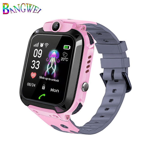 Pink - 2019BANGWEI Smart watch LBS Kid Smart Watches Baby Watch for Children SOS Call Location Finder Locator Tracker Anti Lost Watches