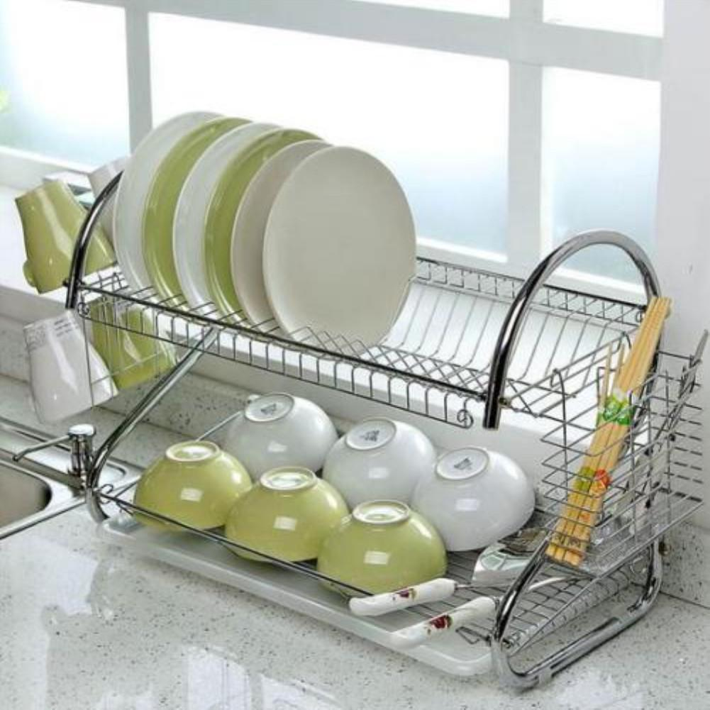 Default Title - AsyPets Large Capacity Stainless Steel 2-Layer Dish Drainer Drying Rack for Kitchen Storage