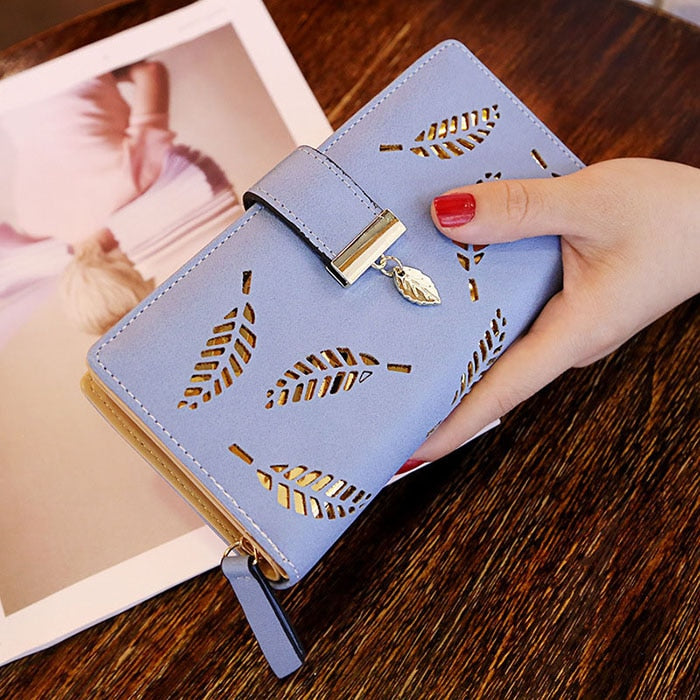 A Blue - Mara's Dream 2019 Brand Leaves Hollow Women Wallet Soft PU Leather Women's Clutch Wallet Female Designer Wallets Coin Card Purse
