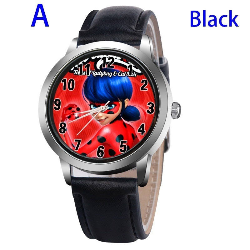 A-BLACK - New arrive Miraculous Ladybug Watches Children Kids gift Watch Casual Quartz Wristwatch fashion leather watch Relogio Relojes